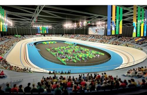 Representação visual do projeto finalizado do velódromo para as Olimpíadas 2016