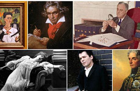 A artista Frida Kahlo, o compositor Ludwig van Beethoven, o ex-presidente americano Franklin D. Roosevelt, a atriz Sarah Bernhardt, o cantor Ian Dury e o célebre almirante Nelson, da Grã-Bretanha