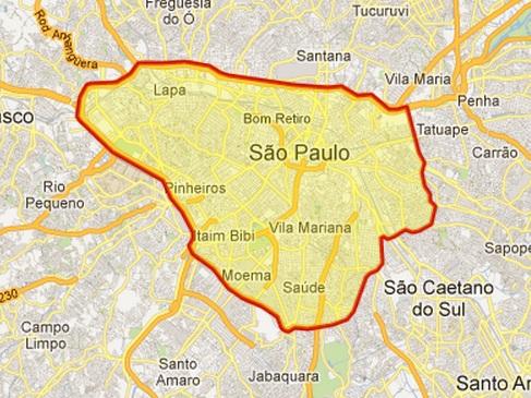 Mapa do rodízio municipal de São Paulo