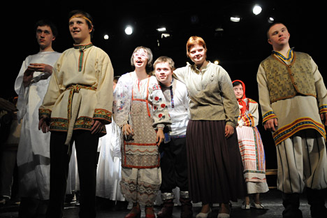Actors with Down syndrome play in the Theatre of the Open-Hearted, based in Moscow.