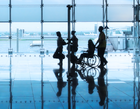 Have the agent at the gate take you, with a wheelchair and those you are traveling with, to the front of the line.