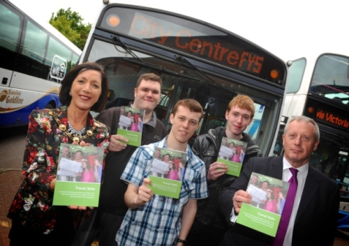 North West launch of the new DRD Travel Safe Guide at the Foyle Street Bus Station as part of learning disability.