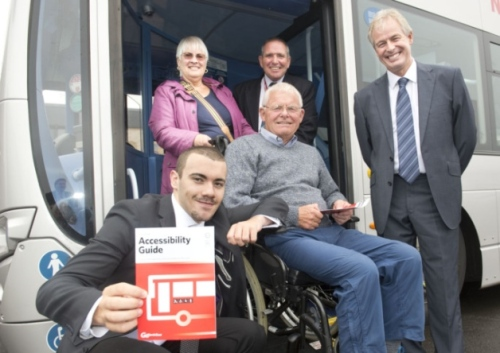 Paralympic swimming champ Josef Craig with Hazel and John Edwards, bus driver, Dave Slater and Kevin Carr of Go North East