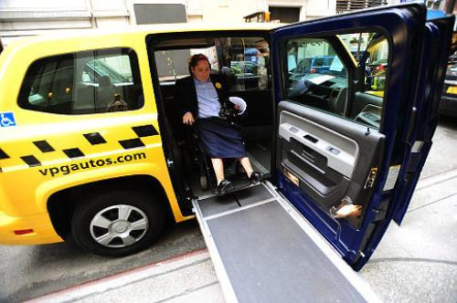 Accessible New York taxi that meets or exceeds the relevant Americans with Disabilities Act (ADA) guidelines.