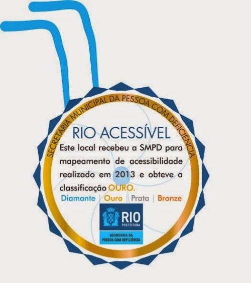 O selo de acessibilidade do Rio de Janeiro é dividido entre quatro classificações (bronze, prata, ouro e diamante)