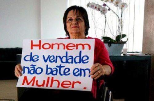 Maria da Penha participa da campanha Homem de verdade não bate em mulher, uma iniciativa do Banco Mundial