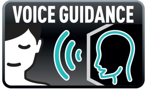 Além de vocalizar as opções do menu, o recurso Voice Guidance também explica como navegar entre as opções.