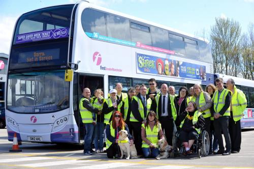 Blind and partially sighted people who swapped places with bus drivers in Bolton to demonstrate the barriers they face when travelling on buses