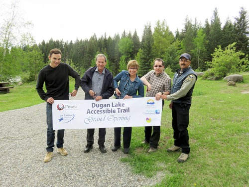 WLIB councillor Willie Sellars, CRD chair Al Richmond, directors Joan Sorley and Steve Forseth and District Recreation Officer Desi Cheverie officially open the Dugan Lake Trail.