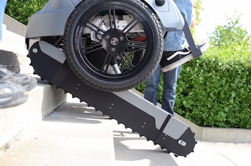 A group of students from Zurich developed a wheelchair that works like a Segway scooter and has tank treads to climb up and down stairs.