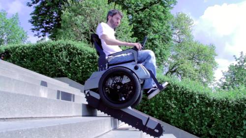 In the project Scalevo a wheelchair was developed that can climb stairs and that balances on two wheels on flat ground.