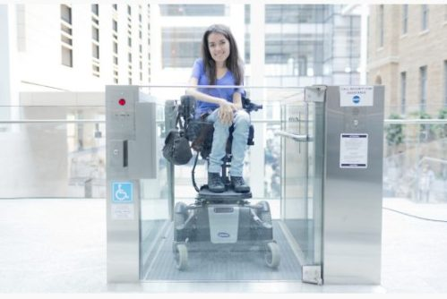 Accessibility advocate and entrepreneur Maayan Ziv uses a lift at Toronto's MaRS building