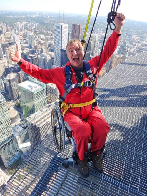 At the CN Tower, Paralympian Rick Hansen launch the accessible wheelchair EdgeWalk experience on the World's