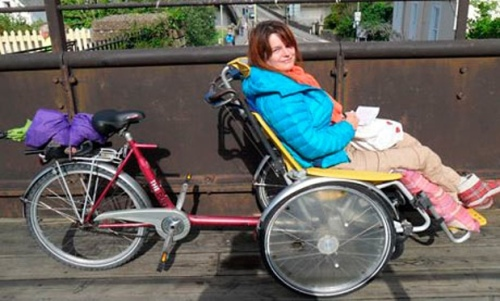 Marina Beaumont on a wheelchair tandem at Bideford