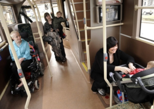 Wheelchair spaces on buses are often taken up with buggies