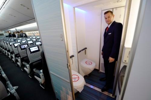 A wheelchair accessible bathroom on board an Air Canada Boeing 787 Dreamliner.