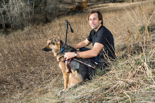 Erik Weihenmayer and his service dog near his home in Golden, Colorado