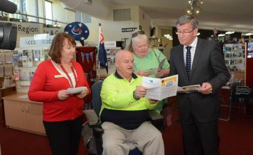 ACCESSIBLE OPTIONS Karen Gould, Bob Triming, Monica Schrader and Bathurst mayor Gary Rush take a look at the new Visitors' Guide to Accessible Bathurst (2)