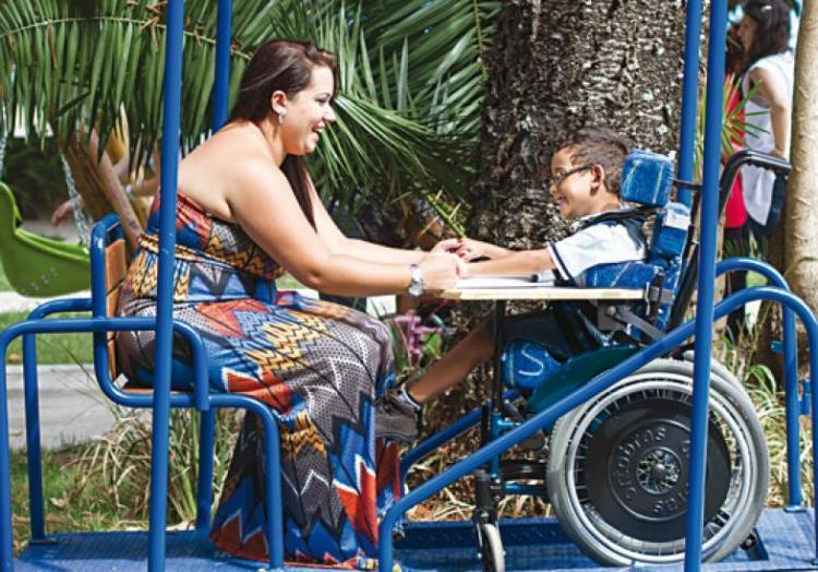 O primeiro parquinho infantil acessível da cidade de São Paulo, que foi inaugurado no dia 25 de janeiro em uma unidade da AACD.