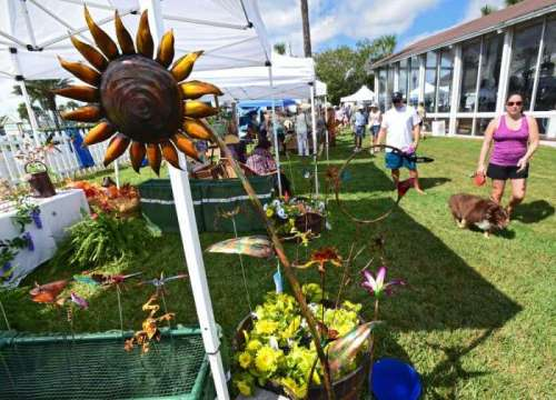 A metal sunflower and other garden art creations of Southern Sun Metal Works were on display for visitors at Museum and Pablo Historical Park.