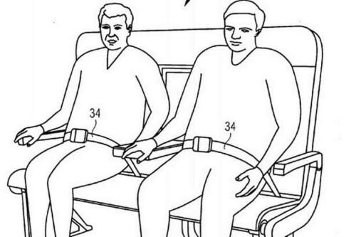 A patente da Airbus sugere assentos sem divisões fixas e cintos com mais opções de ajustes (Airbus)