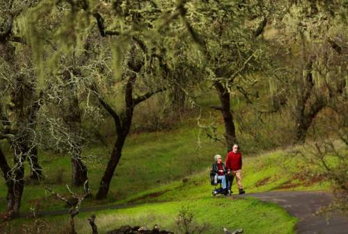 Jeanne Allen of Sonoma enjoys the accessible trail in Sonoma Valley Regional Park with her husband