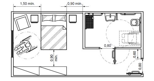 Acima, na figura extraída da norma técnica, estão ilustradas algumas especificações do dormitório com banheiro.