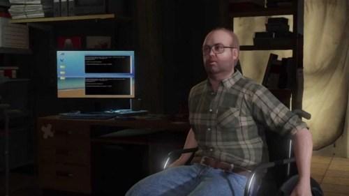 Lester Crest usando cadeira de rodas