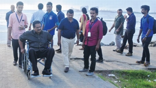simon-george-inspecting-the-fort-kochi-beach-to-prepare-the-feasibility-study-for-converting-fort-kochi-as-a-differently-abled-tourist-friendly-spot