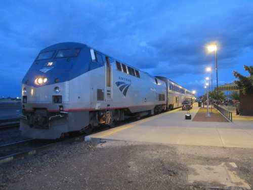 Alas, there's no mention of handicapped facilities on Amtrak's site